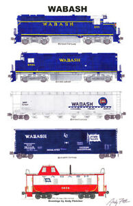 "Wabash Blue-era Freight Train 11""x17"" Railroad Poster by Andy Fletcher signed"