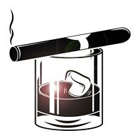 Vinyl Wall Decal Whiskey Glass Cigar Alcohol Bar Men's Style Stickers (ig4334)