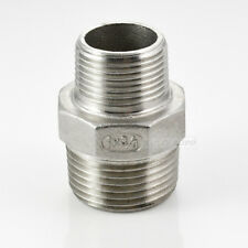 "Hex Nipple 1"" x 3/4"" Male Stainless Steel 304 Threaded Reducer Pipe Fitting NPT"