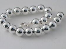 1 bracciale sfere liscie di 8 mm in argento 925 regolabile da 19 a 21,5 cm italy