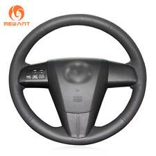 DIY Durable Black Leather Steering Wheel Cover for 2011-2013 Mazda 3 Mazda CX7