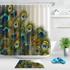 Blue and Green Colors Peacock Feathers Shower Curtain Set Waterproof Fabric 72""