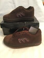 Genuine Etnies Kids Callicut Brown Pink Green Suede Skate Shoes UK Size 13 BNIB