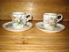 PAIR OF EARLY ROYAL WORCESTER CUPS AND SAUCERS, IMPRESSED MARK
