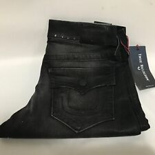 True Religion Mens Ricky in Coated Black Relaxed Straight Jeans Sz 29W x 34L