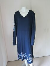 Joe Browns Size 18 Blue Dress With Flower Border Detail