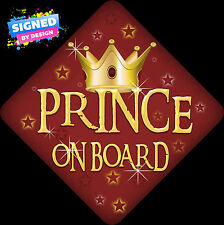 Unpersonalised Prince On Board Child/Baby on Board Car Sign Red Retro New