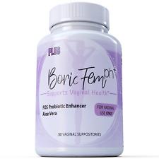 Boric Acid Vaginal Suppositories Plus Aloe Vera & FOS Probiotic Enhancer 800mg