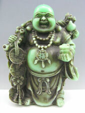 Fine China Peking glass Hand Carved Buddha Ancient coin Calligraphy Statue