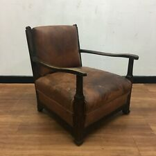 More details for small antique leather armchair