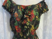 NICOLA BERTTI SHEER BABY DOLL BLOUSE Black Floral Medium