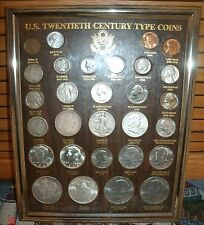 20th century US coins type set - in frame - Barber Half, Morgan Dollar etc,