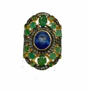 Bright Sapphire & Emerald Gems Pave Cut Diamond Sterling Silver Handcrafted Ring
