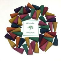 50 x  INCENSE CONES - MIX of 10 Fragrances - 2.5cm Colourful Exotic Loose Indian