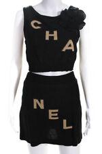 Chanel женские двухсекционный Камелия вязаная блузка юбка ансамбль черный размер 0 B5377