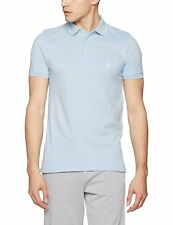 French Connection Men's Blue Tipping Polo Casual Shirt Cotton Short Sleeve Large