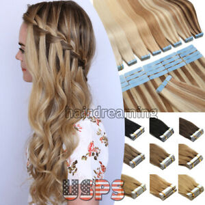 Tape in Human Hair Extensions Seamless Skin Weft Russian Hair Remy Full Head60pc