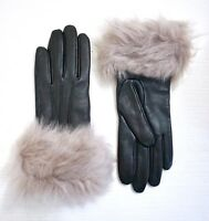 UGG Women's Toscana Shearling Black Leather Smart Tech Gloves, Gray Shearling, S