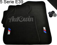 BMW 5 Series E39 E39LCI Black Floor Mats With ///M Emblem LHD Side Clips NEW
