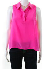 Equipment Femme  Womens Sleeveless Silk Blouse Bright Pink Size Small