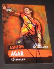 Ashton Agar  (Australia) signed Perth Scorchers Cricket Card + COA