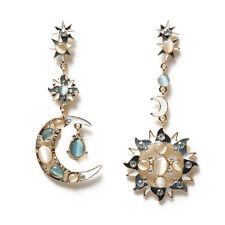 Unique Deign Star Sun Moon Crystal Rhinestone Stud Dangle Pretty Funky Earrings