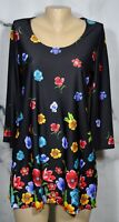 SLINKY BRAND Black Multicolor Floral Print Tunic Top Medium 3/4 Sleeves Unlined