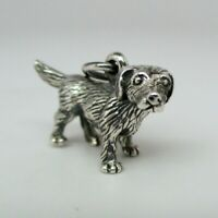 Sterling Silver DOG Charm for Bracelet PENDANT New Old Stock MIXED BREED Vintage