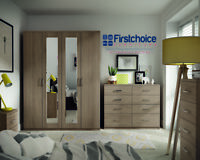 Ready Assembled Medina Driftwood Wardrobe Drawers Complete Bedroom Furniture Set