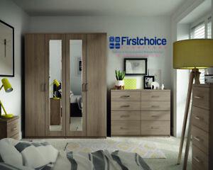 Ready Assembled Medina Driftwood Wardrobe Drawers Complete Bedroom Furniture Set