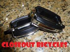 "507 PVC Pedals 1/2"" Black/Chrome Block Lowrider Beach Cruiser Chopper Bike"