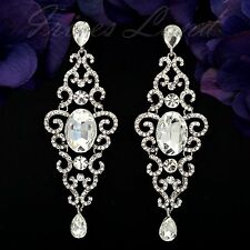 Drop Dangle Earrings 09920 New Rhodium Plated Clear Crystal Rhinestone Wedding