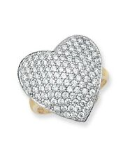 9ct Yellow Gold Solid Ladies Cubic Zirconia Heart Ring FREE UK POST NEW