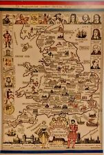 Story Map of England Colortext Publications Pictorial Map England 1936