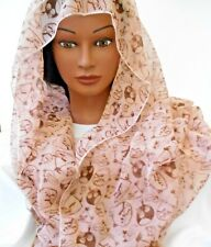 """PINK MAUVE WITH BROWN BIRDS 63"""" X 27"""" Womens Scarf  Silk Feel"""