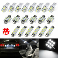 20x White LED Lights Bulbs Interior Lamp Package Kit For T10 License Plate Light