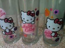 """Three Hello Kitty 6"""" Drinking Glasses All Different"""