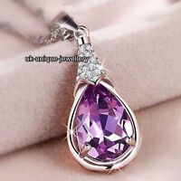 SALE Black Friday - Gifts For Her Girlfriend Women Purple Crystal Necklace Xmas
