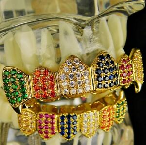 Rainbow Fang Grillz Set 18k Gold Plated CZ Multi-Color Teeth Bling Vampire Fangs