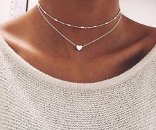 Damen doppel Kette Halskette silber Herz 2er Set Blogger kurz Statement Valentin