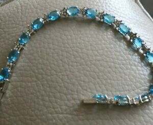Bracelet Silver plated Style Holding Turquoise Oval Crystal Pefect Gift Idea