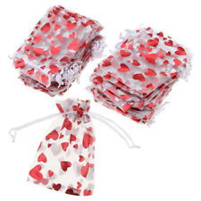 100x  Love Heart Drawstring Gift Pouch Candy Bag Wedding Favor
