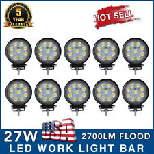 10X 27W LED Work Light 5D Lens Truck OffRoad Tractor Flood Lights 12V 24V Round