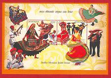 [090] Miniature Sheet India Mexico Joint Issue Kalbelia Dance Music 2010 MNH