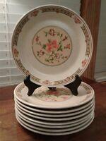 "Set Of Nine Temper-Ware By Lenox Coral Blossom Salad Plates 7 3/4"" Diameter"