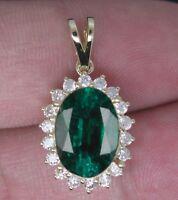 1,45Kt 585er Gelb Gold Natürlich Grün Smaragd EGL Zertifiziert Diamant Anhänger