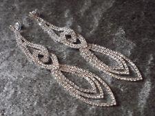 Damen Ohrringe Ohrstecker Strass Lang Farbe Silber Wedding Hochzeit 1717