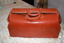 ANTIQUE Cognac Cowhide Leather DOCTORS BAG Vintage MEDICAL Carry Satchel DR. Bag
