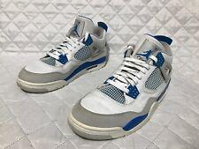 6eddbed8e5d205 Nike Air Jordan IV 4 Retro White Military Blue-Neutral Grey 308497 105 Sz