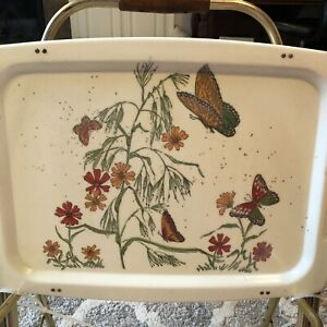 Mid Century Fiberglass Tv Trays Set Of 4 With Rolling Stand Vtg Butterfly Flower